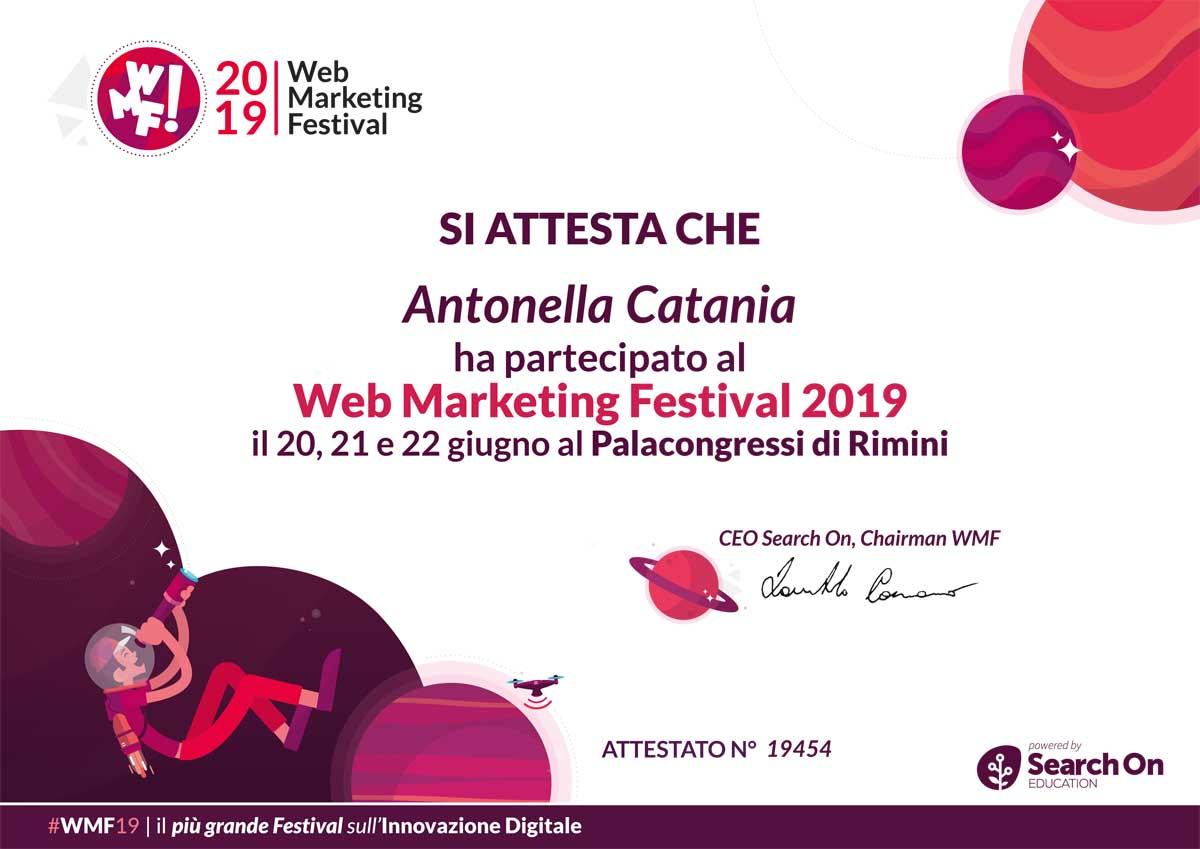 Attestato Partecipazione WMF 2019 Antonella Catania