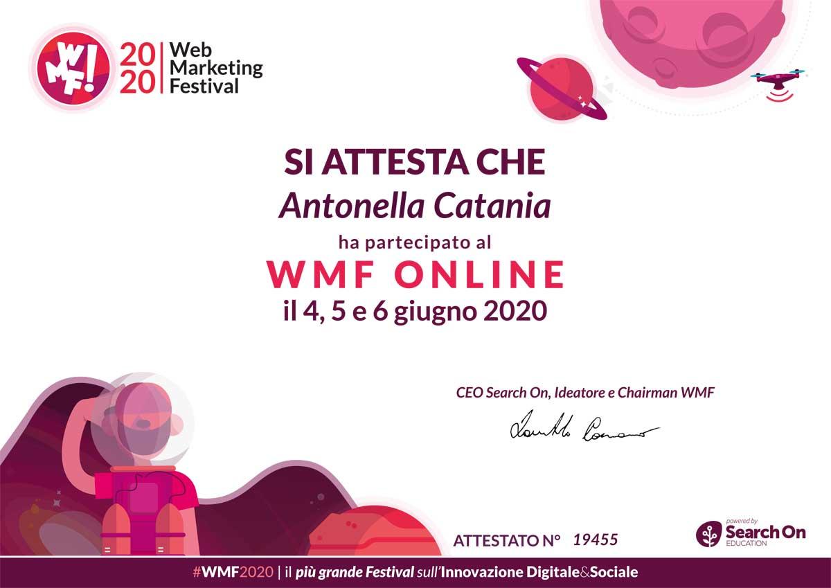 Attestato Partecipazione WMF 2020 Antonella Catania