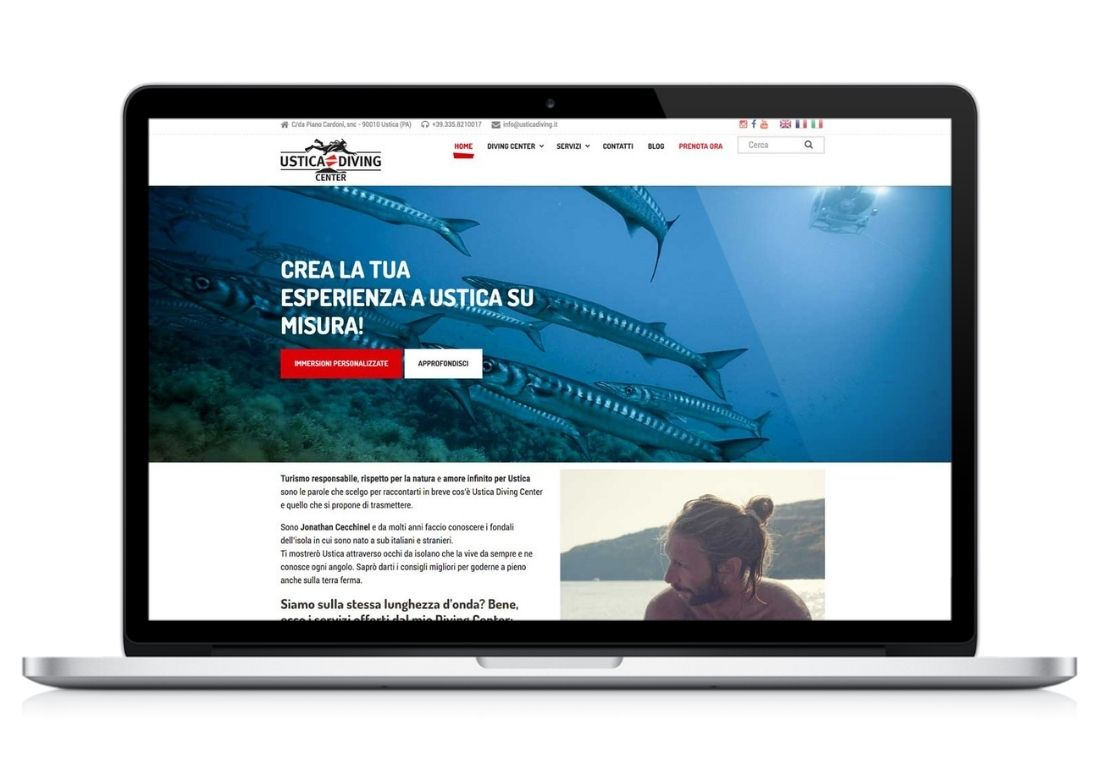 home page sito web Ustica Diving Center