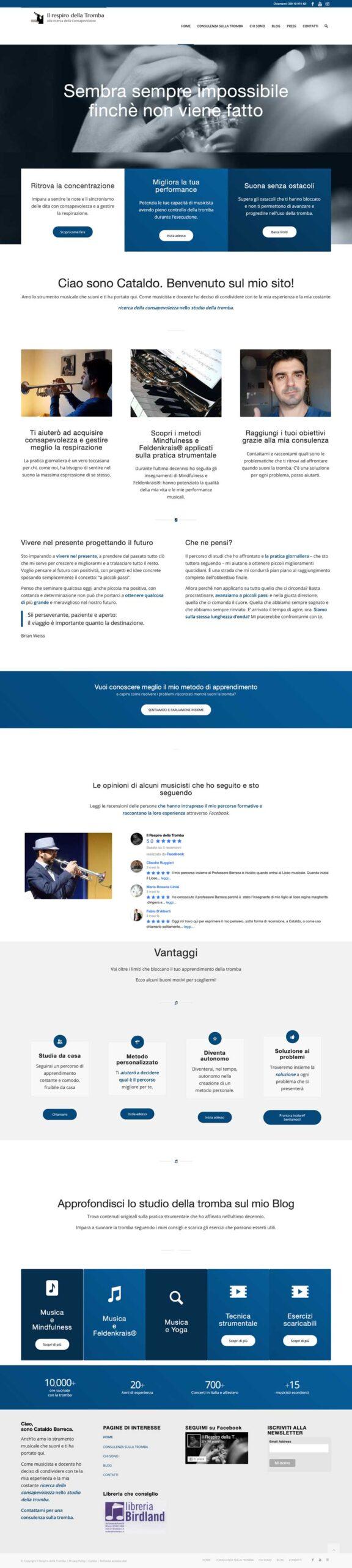 Immagine dell'intera home page del sito Il respiro della tromba