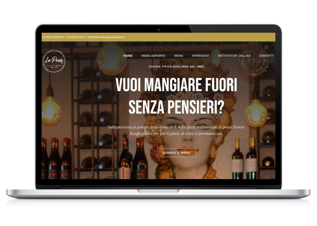 Home page sito web Ristorante Pizzeria La Perla